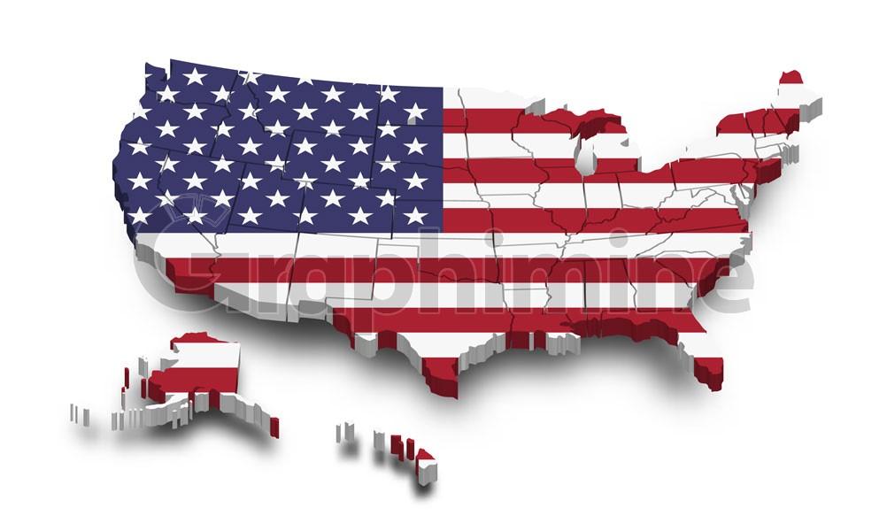 وکتور نقشه آمریکا با طرح پرچم