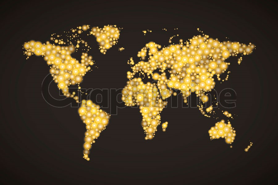 وکتور نقشه جهان با نقاط طلایی