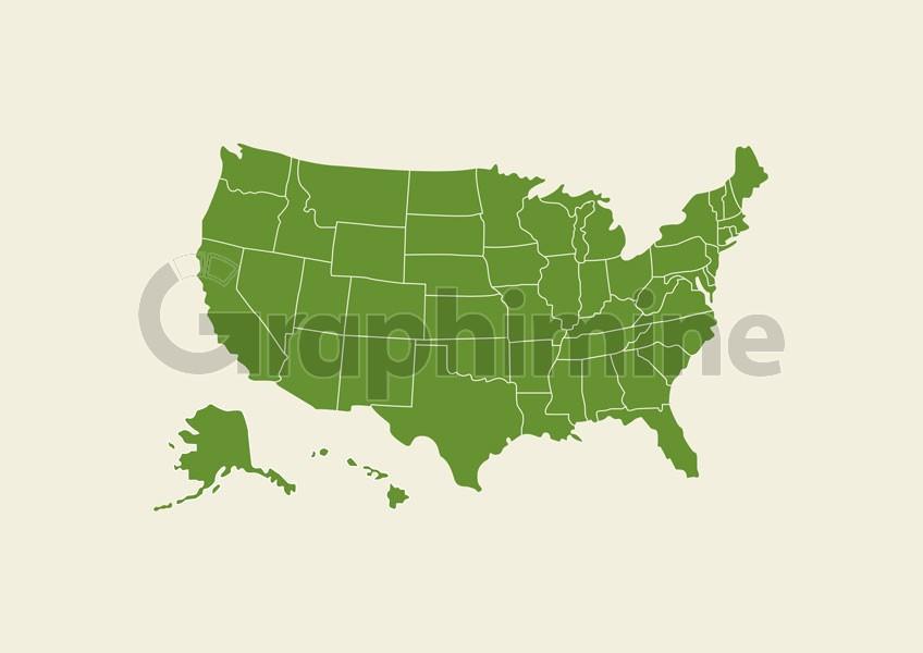 وکتور نقشه سبز رنگ آمریکا