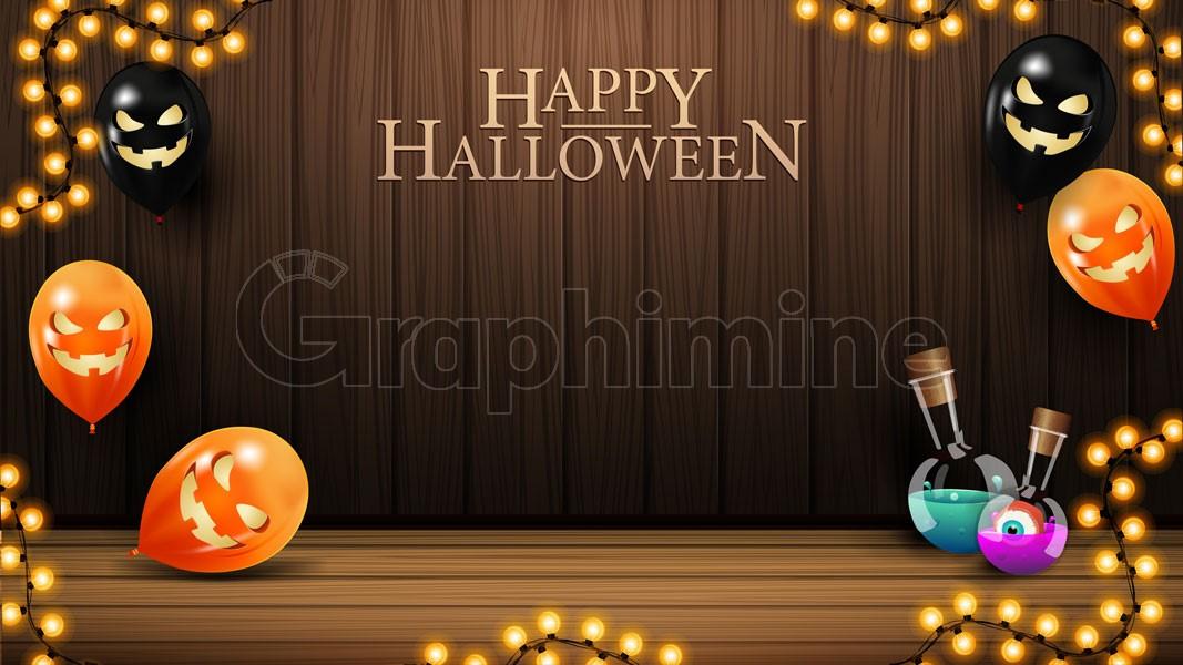 وکتور پس زمینه چوبی هالووین