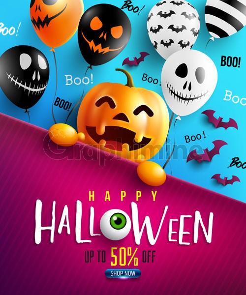 وکتور پوستر تخفیف هالووین