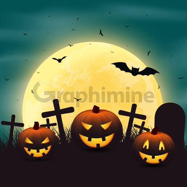 وکتور کدو تنبل هالووین و گورستان