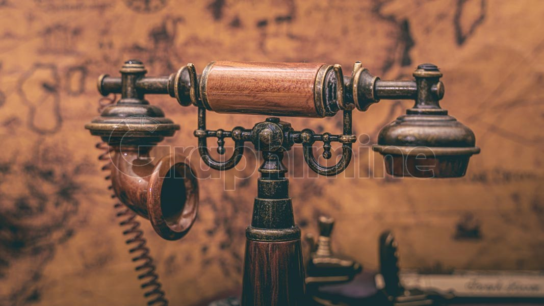تصویر استوک تلفن کلاسیک قدیمی