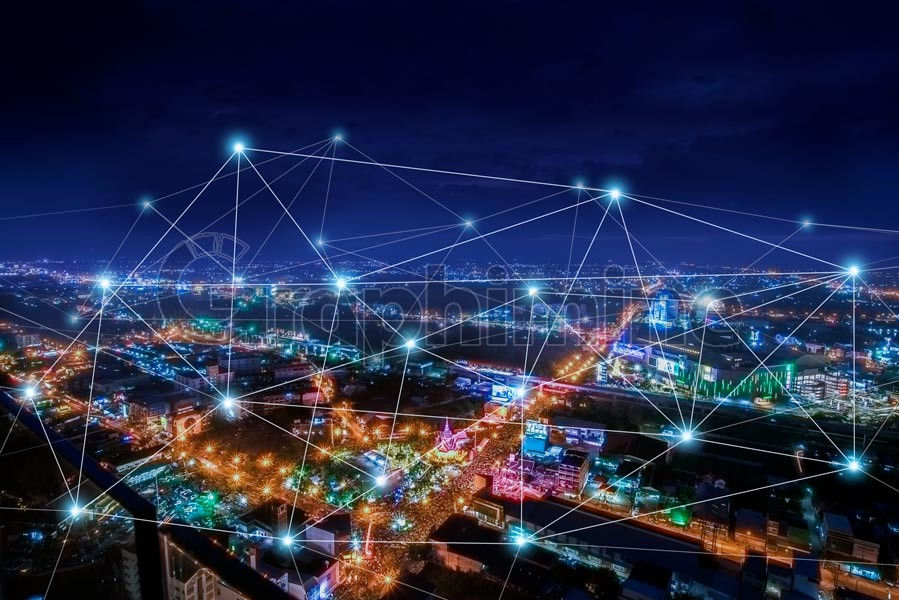 عکس استوک شبکه ارتباطی شهر هوشمند