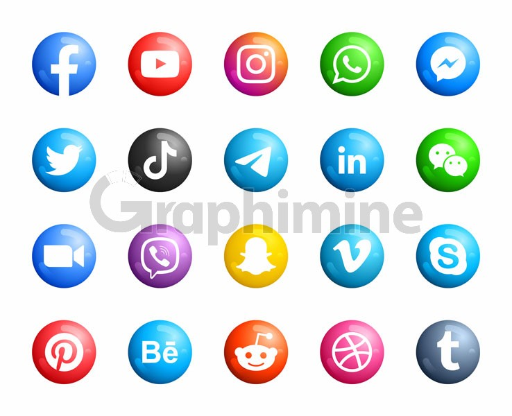 وکتور آیکن سه بعدی شبکه اجتماعی