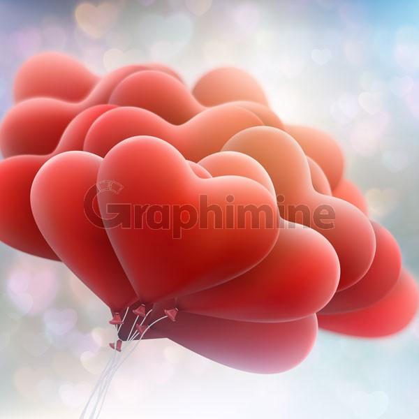 وکتور بادکنک قلب قرمز