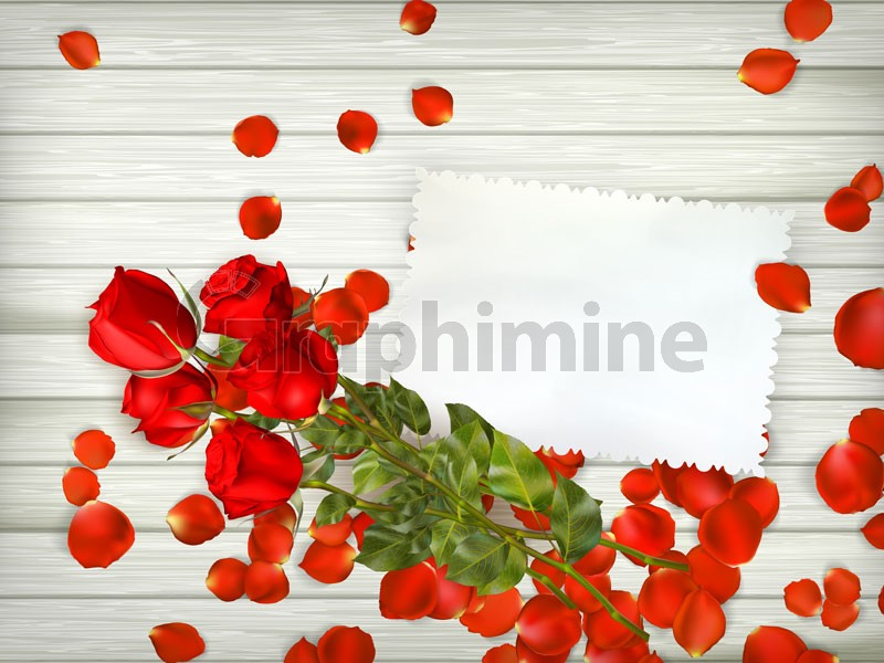 وکتور شاخه گل رز پس زمینه چوبی