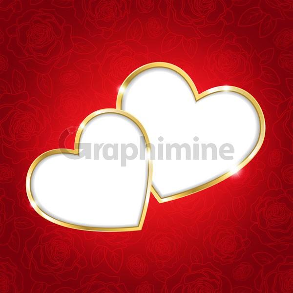 وکتور فریم قلب پس زمینه قرمز
