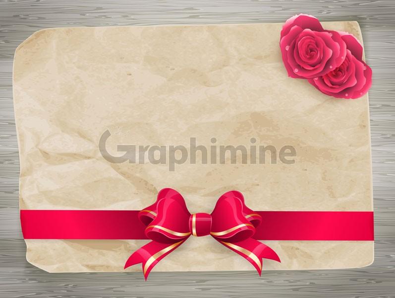 وکتور کاغذ روبان گل رز