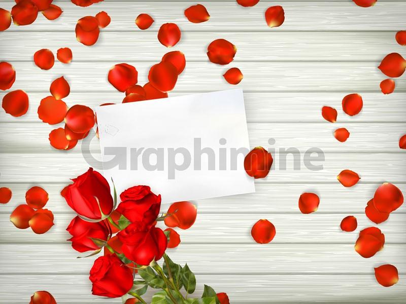 وکتور گل رز پس زمینه چوبی