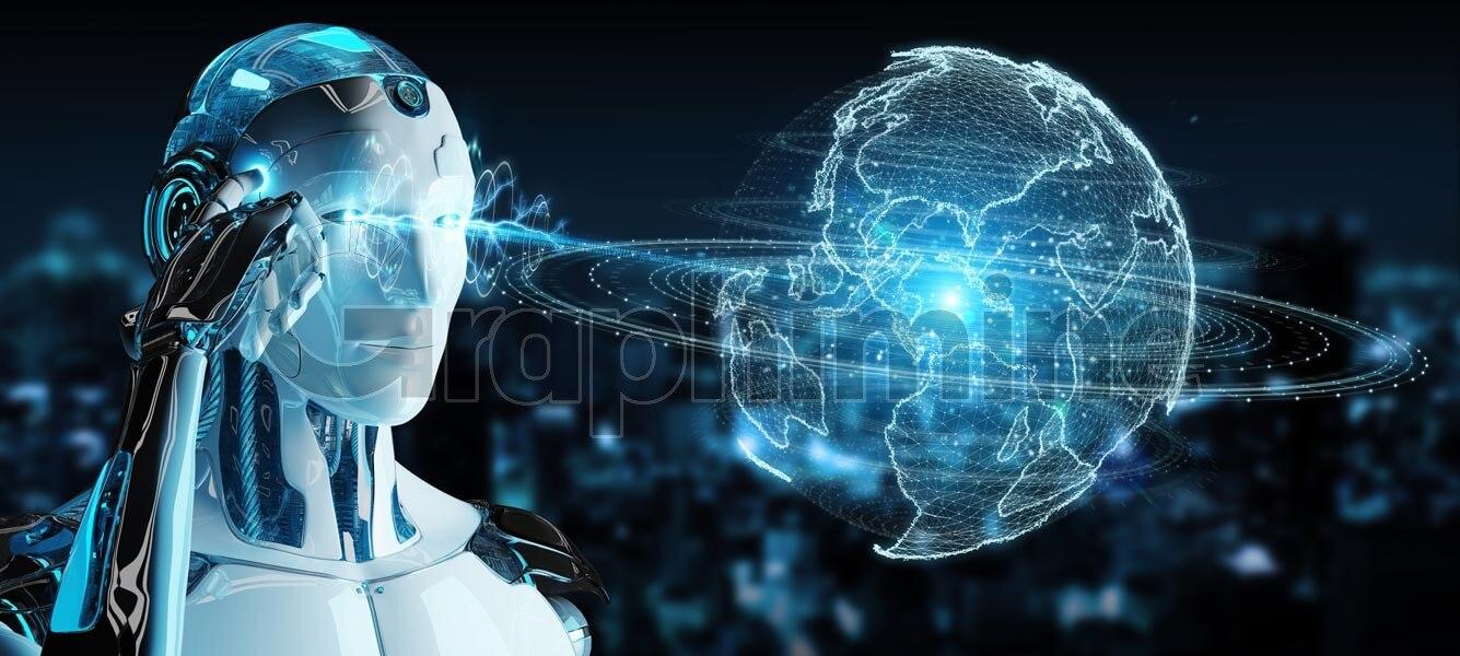 تصویر استوک ربات سایبورگ فناوری