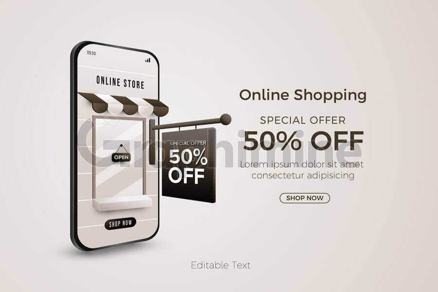 وکتور بنر فروش آنلاین حراج ویژه موبایل اپلیکیشن
