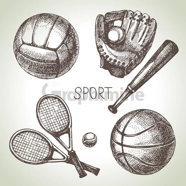 وکتور توپ فوتبال والیبال بیسبال تنیس
