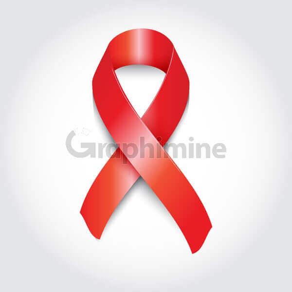 وکتور روبان قرمز نماد بیماری ایدز HIV