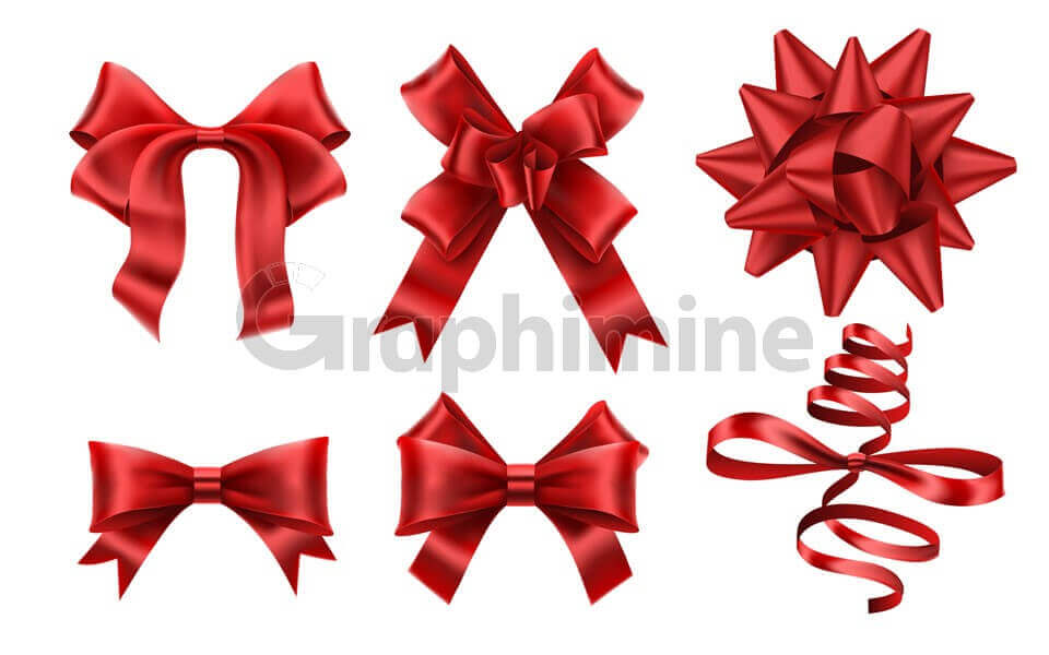 وکتور روبان پاپیون قرمز هدیه کریسمس