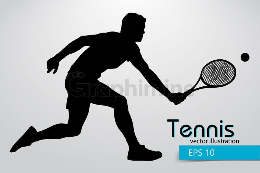 وکتور سایه بازیکن تنیس