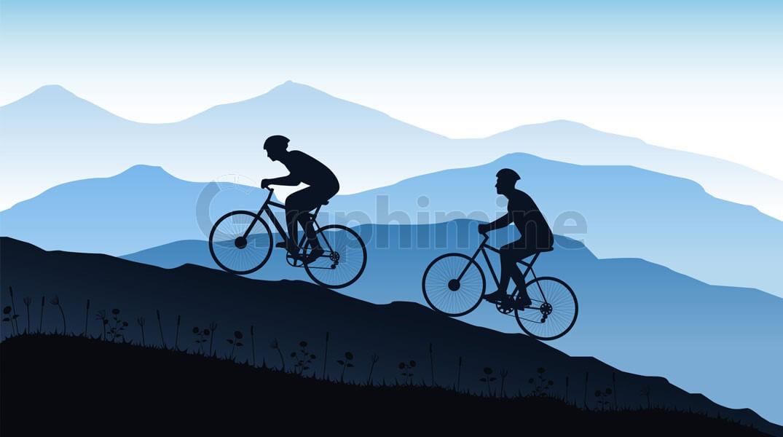 وکتور سایه دوچرخه سوار کوهستان