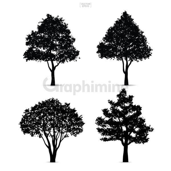 وکتور سایه مجموعه درخت ها