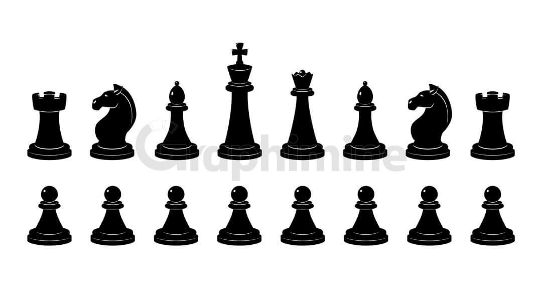 وکتور سایه مهره های شطرنج