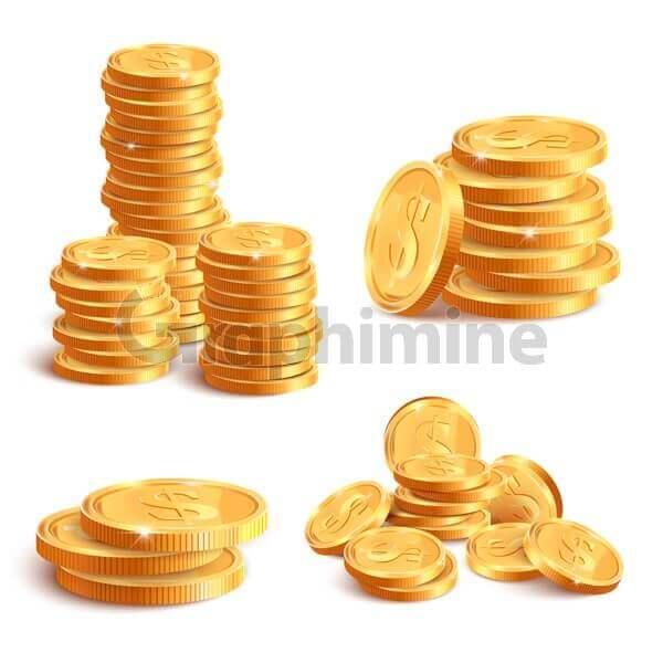 وکتور سکه طلا علامت دلار
