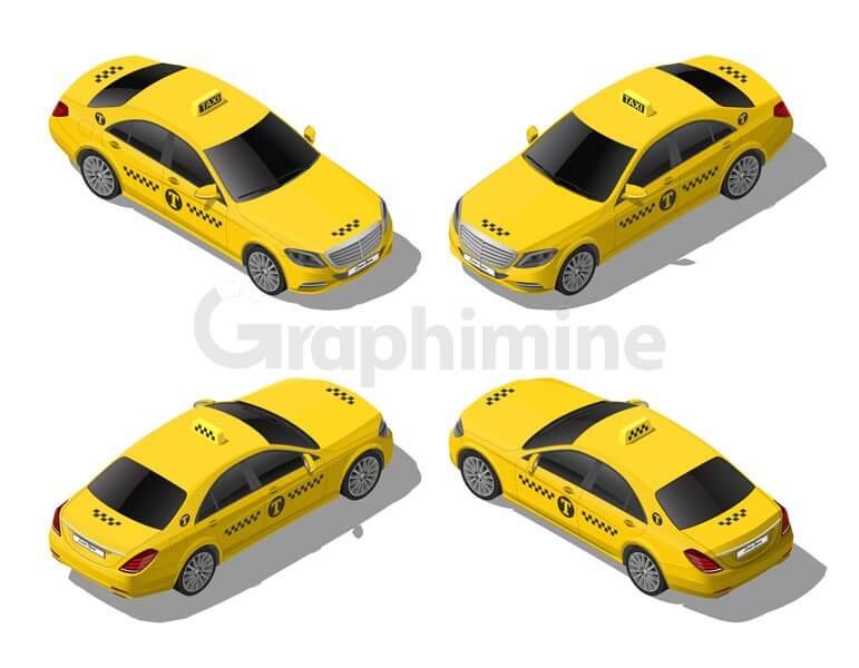 وکتور طرح تاکسی زرد
