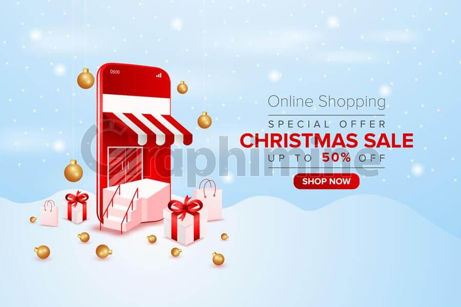 وکتور فروش آنلاین حراج ویژه کریسمس
