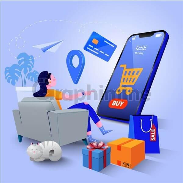 وکتور فروش آنلاین دیجیتال مارکتینگ وبسایت گوشی هوشمند اپلیکیشن