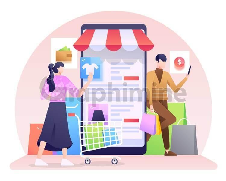 وکتور فروش فروشگاه آنلاین گوشی هوشمند