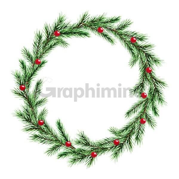 وکتور فریم حلقه برگ درخت کاج کریسمس