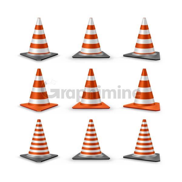 وکتور مخروط ترافیکی ایمنی هشدار