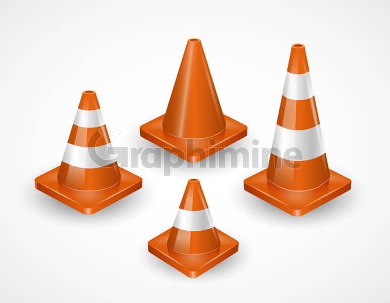 وکتور مخروط ترافیکی هشدار احتیاط