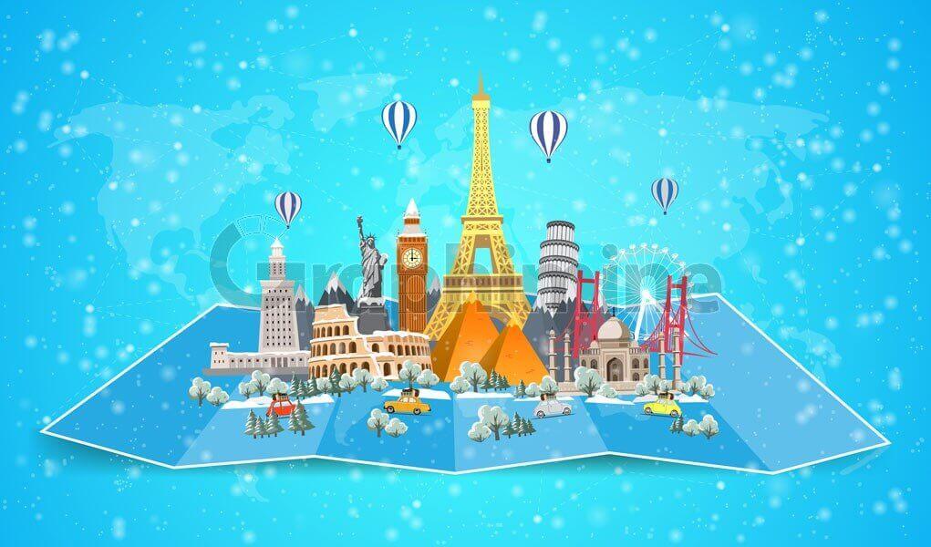 وکتور مکان جاذبه توریستی گردشگری زمستان برف