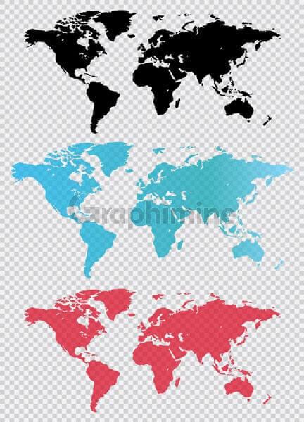 وکتور نقشه جهان سه رنگ