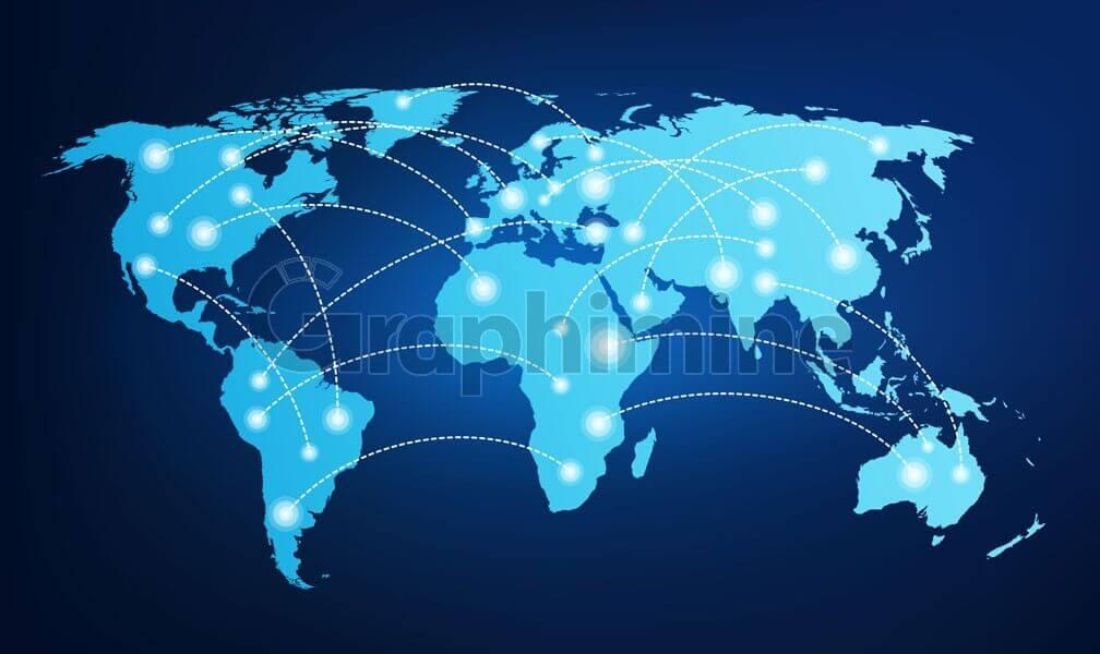 وکتور نقشه زمین ارتباط جهانی