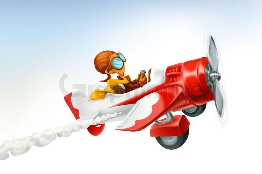 وکتور کارتونی سه بعدی هواپیما