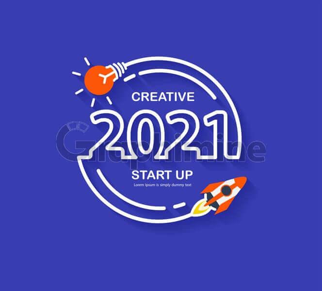 وکتور کسب و کار استارتاپ سال 2021 موشک لامپ ایده خلاقیت