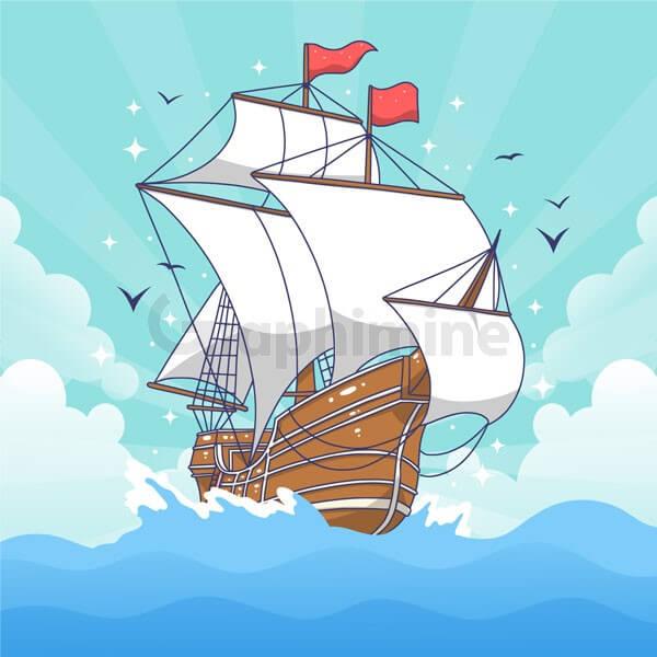 وکتور کشتی دزد دریایی