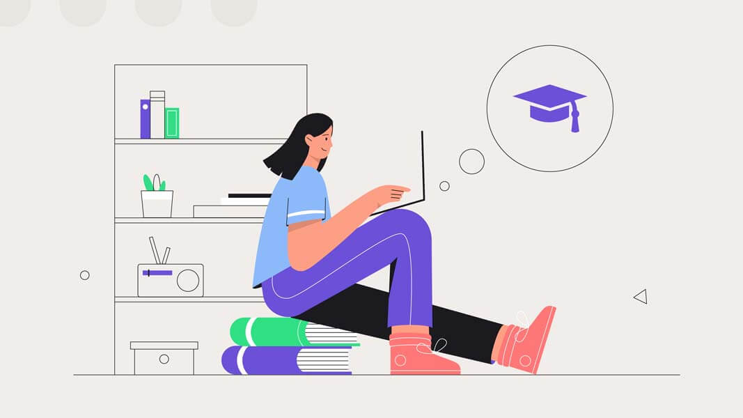 وکتور آموزش آنلاین دوره مجازی تحصیل لپ تاپ