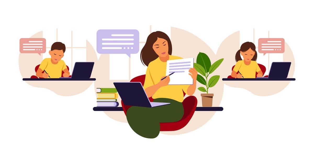 وکتور آموزش مجازی یادگیری آنلاین کلاس معلم