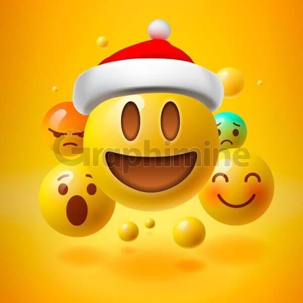 وکتور ایموجی خوشحال خنده عصبانی کلاه کریسمس