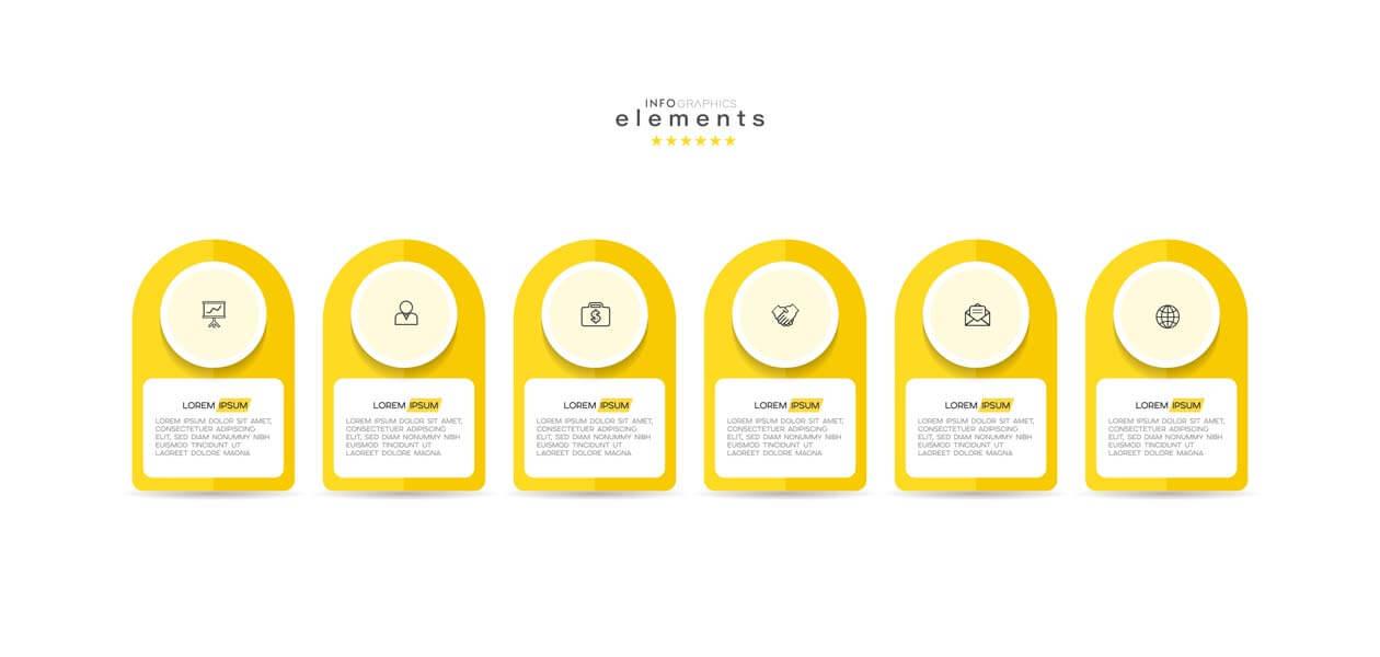 وکتور اینفوگرافیک مرحله ای زرد شش گزینه ای