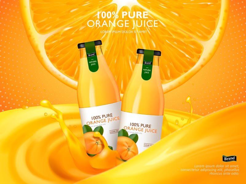 وکتور بطری آب پرتقال آبمیوه