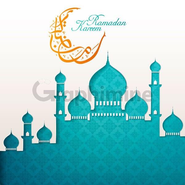 وکتور تبریک ماه رمضان مسجد