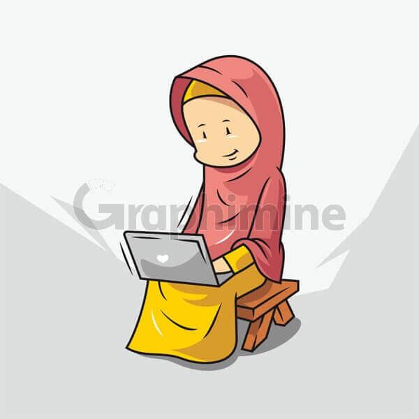 وکتور زن محجبه لپ تاپ