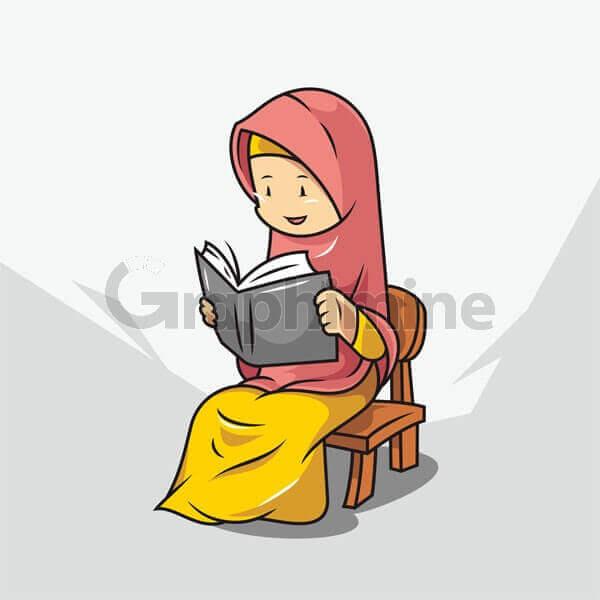 وکتور زن محجبه کتاب
