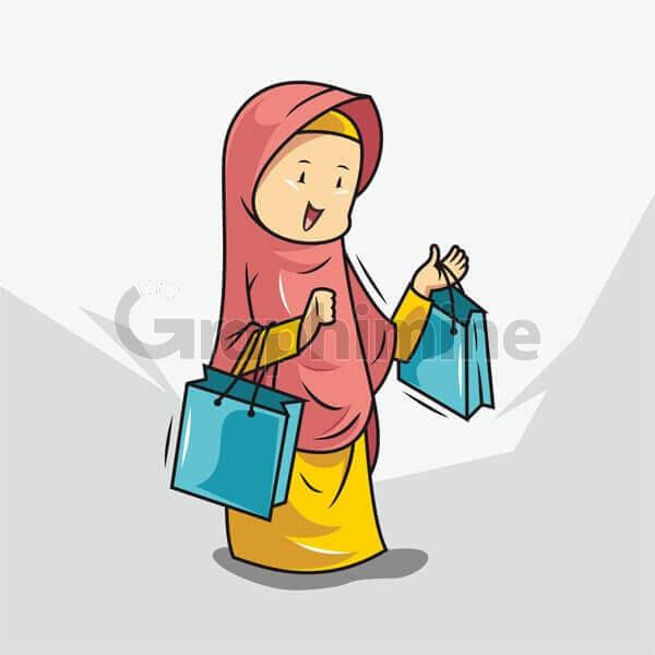 وکتور زن محجبه کیسه خرید
