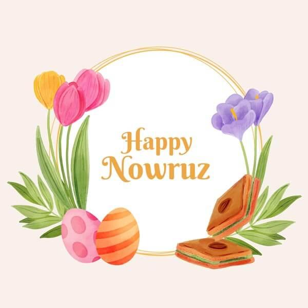 وکتور طرح آبرنگی فریم سال نو مبارک نوروز شیرینی گل