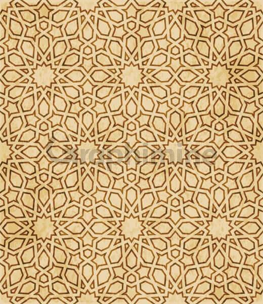 وکتور طرح اسلامی شرقی پترن هندسی قهوه ای