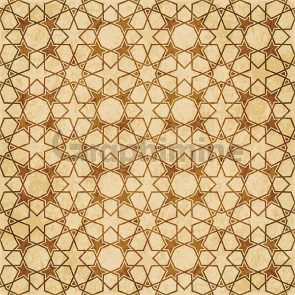 وکتور طرح اسلامی هندسی پترن شرقی قهوه ای
