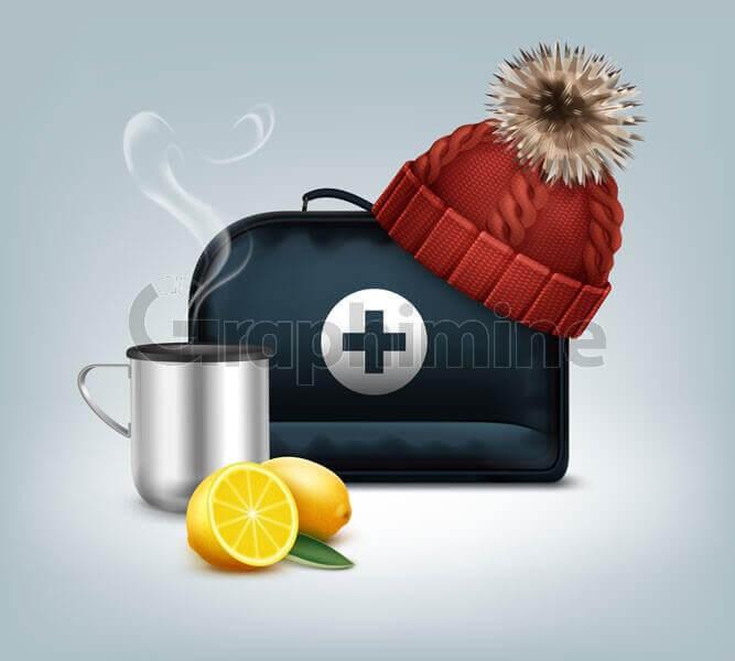 وکتور طرح ایلاستریتور کیف کمک های اولیه کلاه بافت لیمو نوشیدنی